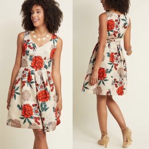 ModCloth Excellence Red Floral Flower Dress, S!
